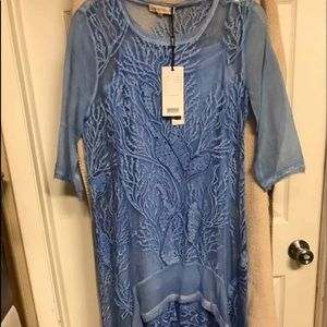 Blue tunic high low dress